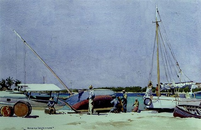repairing sponge boats, bahamas by norman wilkinson