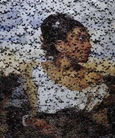 orphan girl at the cemetery, after delacroix from gordian puzzles by vik muniz