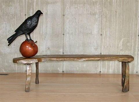 mesquite bench with apple and raven by peter woytuk