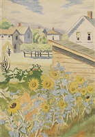 row of sunflowers by charles ephraim burchfield