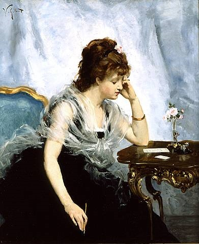 a young lady writing a letter by victor gabriel gilbert