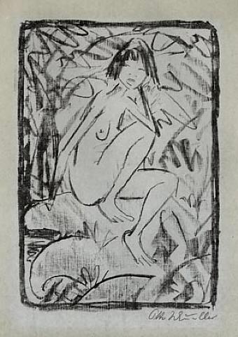 sitzende, von blattwerk umgeben (helle fassung) by otto mueller