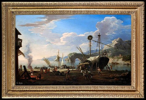 a capriccio harbour scene in a mediterranean bay by jacob de heusch