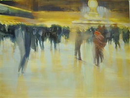 nyc, grand central station, surrounding the clock by david allen dunlop (sold)