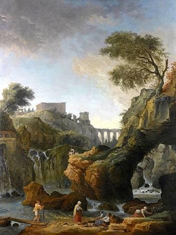 forteresse dominant une cascade dans un paysage animé de promeneurs by hubert robert