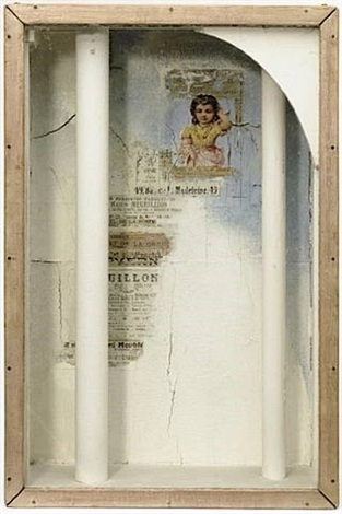 untitled (girl and two columns) by joseph cornell