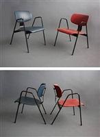 armchair / zetel f1(blue) and armchair / zetel f1 (red) by willy van der meeren