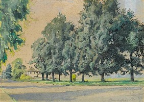 a tree-lined road in gloucestershire by alexandre benois