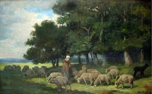 shepherdess and sheep at the edge of the forest by charles émile jacque