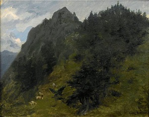 sheep grazing on a hillside in the pyrenees by rosa bonheur