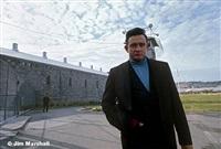 johnny cash, outside folsom prison, ca, 1968 by jim marshall
