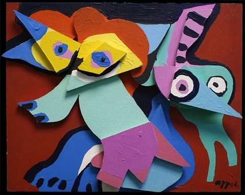 jumping fox with green virgin by karel appel