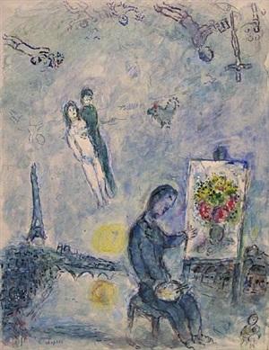le peintre entre deux rives by marc chagall