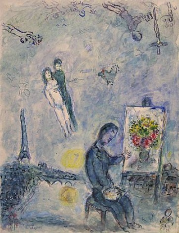 Le peintre entre deux rives by marc chagall on artnet for Chagall peintre