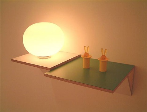 untitled (2 toothpick holders, lamp) by haim steinbach