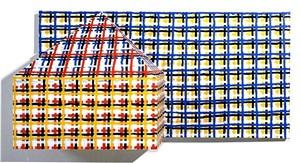 3-d house, grid by jennifer bartlett