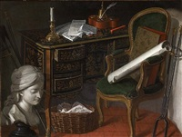 a pair: bust of a woman by a wicker basket filled with sheet music, a writing desk with inkwell and a chair by nicolas henry jeaurat de bertry