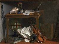 a pair: naturalist manual and objects resting on a table above a globe by nicolas henry jeaurat de bertry