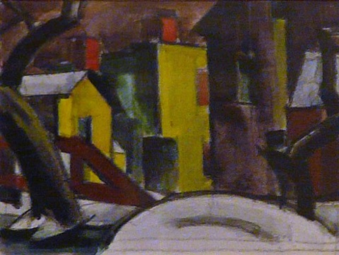 harrison bridge, bloomfield, winter night by oscar florianus bluemner
