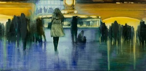 nyc, grand central station, lady in white by david allen dunlop (sold)