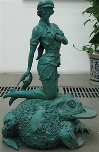 woman soldier, toad and copper coin by huang gang