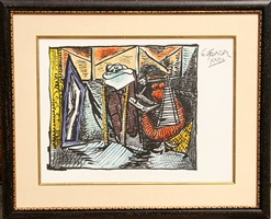 femme dessinant, femme assoupie by pablo picasso