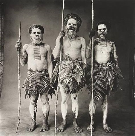 three new guinea men painted white, new guinea by irving penn