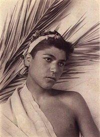 untitled (boy with wreath & frond) by baron wilhelm von gloeden