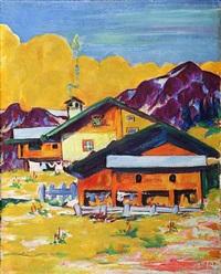 bauernhäuser mit gelber wolke by philipp bauknecht