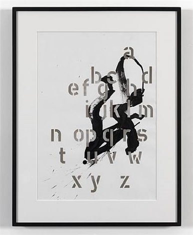 ink drawing with alphabet (penetrated) ii by cerith wyn evans