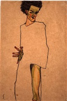 self portrait by egon schiele