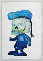 sassy skeleton in oil (marine scull) by todd james