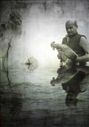 man with cockerel 2 by ranbir singh kaleka