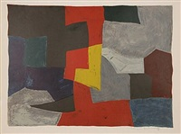 composition grise, rouge et jaun by serge poliakoff