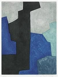 composition noire, bleue et mauve by serge poliakoff