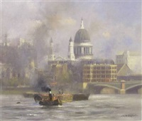 the city of london accross the thames with st. paul's cathedral by david shepherd