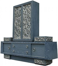 blue cerused and silver leafed chestnut console by james mont by james mont
