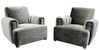 pair of channel tufted original club chairs by james mont by james mont