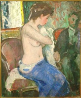 untitled (interior with seated nude and gentleman) by françois gall