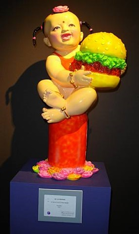 world's most famous brands series (baby girl holding hamburger w/2 pigtails) by luo brothers