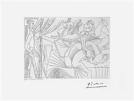 raphael et la fornarina xxii: michel-ange sous le lit: entre piero crommelynk, from the 347 series, 8 september, 1968, mougins by pablo picasso