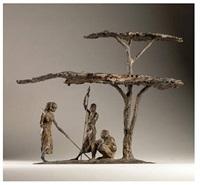noon at maralal - samburu beneath an acacia tree by jonathan kenworthy