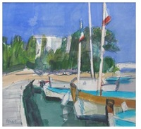 boats with flags, cap d'antibes by archie forrest