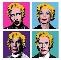 warhol wig series: manson, michael jackson, spock, andy warhol by mr. brainwash