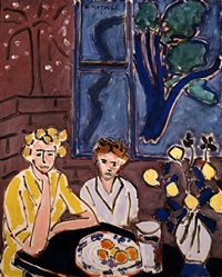 deux fillettes, fenetre bleue (sold) by henri matisse