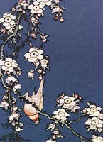 bullfinch and weeping cherry, from small flowers, after hokusai by vik muniz