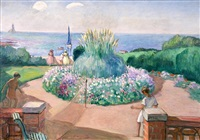 tennis on the terrace, prefailles by henri lebasque