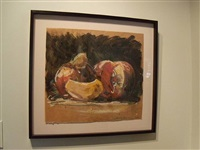 untitled still life (fruit drawing) by tony scherman