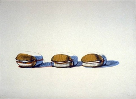 bbq beefs (3 hamburgers) by wayne thiebaud