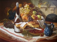 still life, champagne and cakes by thomas hill
